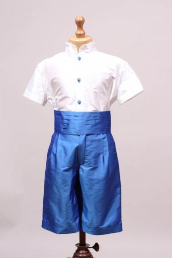 Tenue de cortège bleu roi et blanc en soie