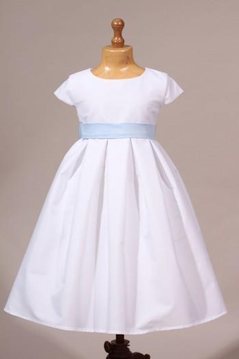 Robe de cortège blanc et bleu clair chintz