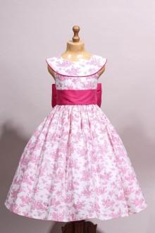 Robe de cortège toile de Jouy rose fuschia
