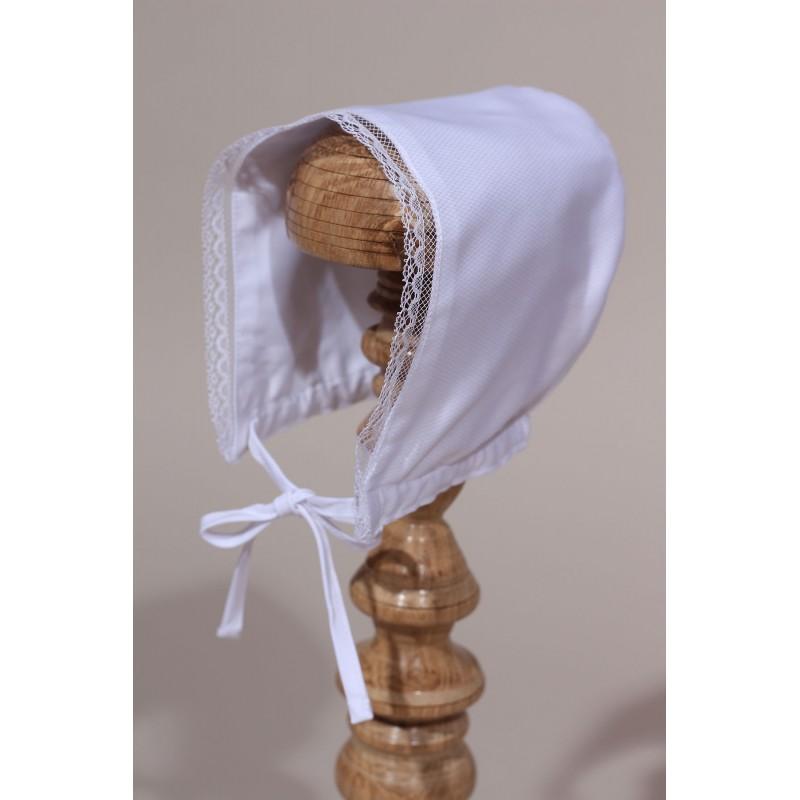 4bd9e8b0b310 Bonnet de baptême bébé dentelle de Calais. Loading zoom