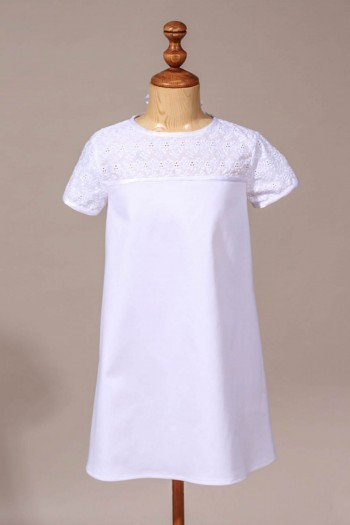 Favori Robe de communion fille, robe blanche chic en broderie anglaise HI76