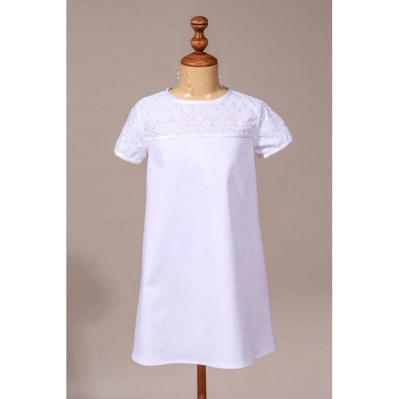 669fff24e4e4b Robe de communion fille chic broderie anglaise. Loading zoom
