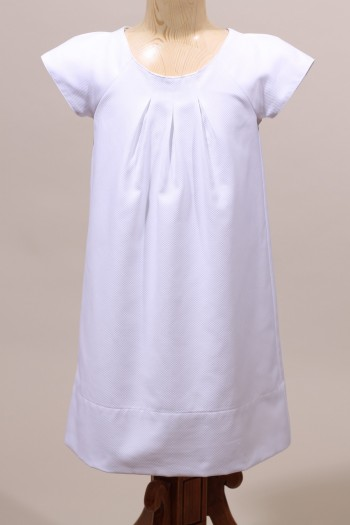 Robe blanche de cérémonie fille en coton