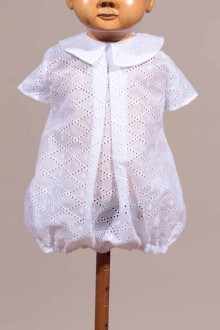 Barboteuse Baptême broderie anglaise blanche Walter