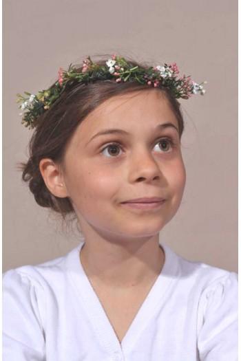Couronne élégante de fleurs blanche et rose