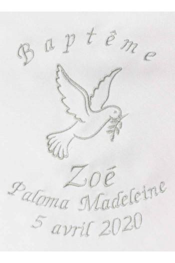 Broderie personnalisée d'une colombe Zoé