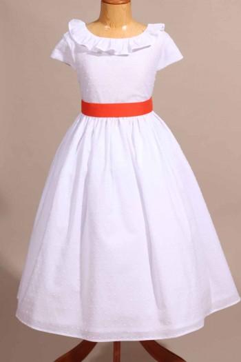 Robe de cérémonie en plumetis blanche