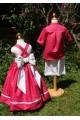 Vêtement d'enfants d'honneur blanc et fuschia