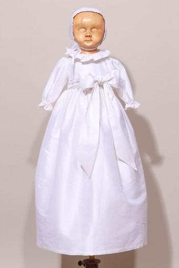 Robe longue de baptême chic 100% soie sauvage