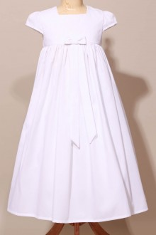 Robe de communion empire, robe blanche noeud ruban