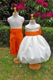 Tenue de cortège blanc et orange ceinture sisal orange