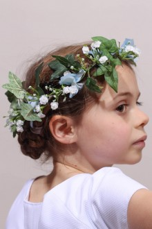 Couronne de fleurs cortège mariage hortensia bleu
