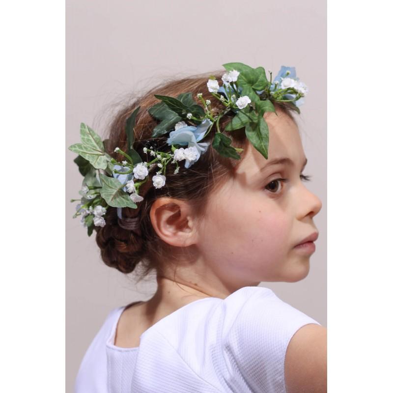 Couronne de fleurs hortensia bleu cort ge ou premi re communion - Taille des hortensias fleurs ...