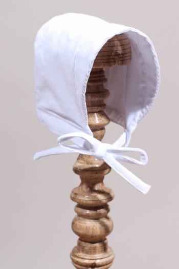 Bonnet rétro de baptême en velours