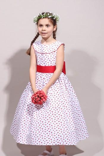 Robe d'été fille cerises, robe de cortège rouge