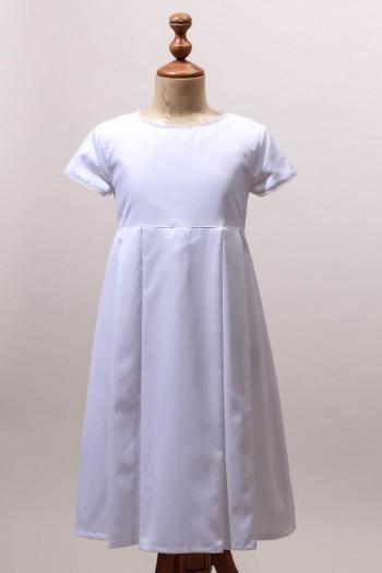 Robe de communion fille classique chic, robe blanche cérémonie